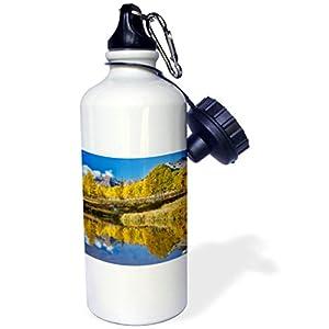 3dRose Danita Delimont - Autumn - Sunrise, Maroon Bells autumn colors on aspens with pond reflection. - 21 oz Sports Water Bottle (wb_278795_1)