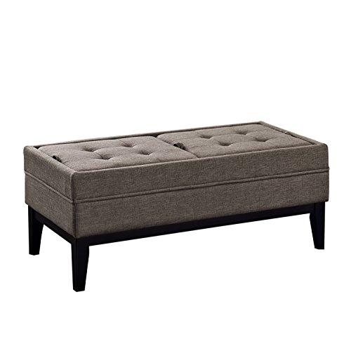 Simpli Home Castlerock Rectangular Storage Ottoman Bench, Large, Fawn Brown
