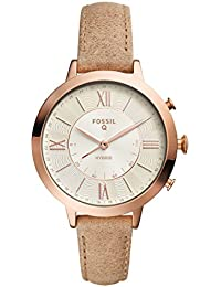 Q Women's Jacqueline Stainless Steel and Leather Hybrid Smartwatch, Color: Rose Gold-Tone, Beige (Model: FTW5013)