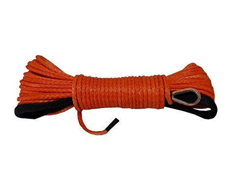 """Price comparison product image Orange 3 / 16""""50ft Synthetic ATV Winch Rope ATV Winch Line Synthetic Winch Cable"""
