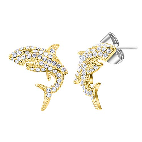 - Stud Earrings for Women Shark Earrings 16K Gold Plating with Swarovski Holiday Earrings Give