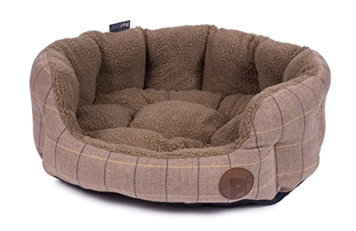 Petface Dog Bed, Tweed Oval Pet Bed, Tan, Large