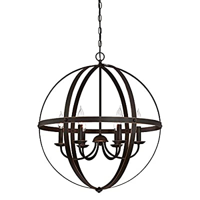 Westinghouse Stella Mira Six-Light Indoor Chandelier, Antique Bronze Finish with Highlights