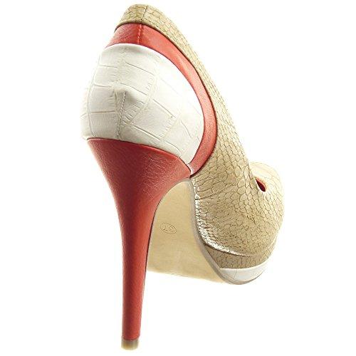 Sopily - Chaussure Mode Escarpin Decolleté Stiletto Plateforme Cheville femmes Peau de serpent Lignes Talon haut aiguille 12 CM - Orange