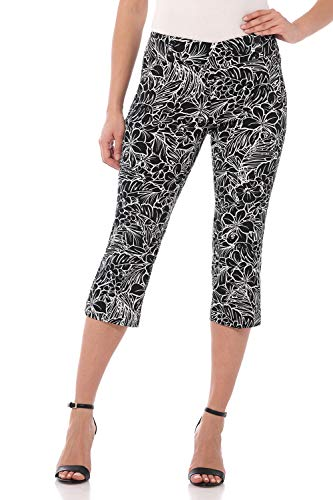 Rekucci Women's Ease in to Comfort Fit Capri with Button Detail (18,Black/White Tropical) (Pinstriped Capri Pants)