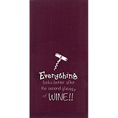 Kay Dee Designs Everything Wine Embroidered Waffle Towel