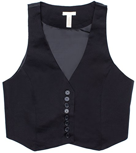 Ragstock Women's Button Up Vest Top, Jet Black-Small ()