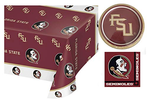 Florida State Seminoles Party Supplies Kit with Tablecover for 8