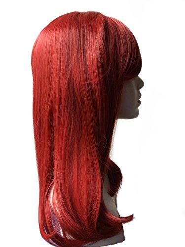 HI GIRL Auburn Medium Long Straight Synthetic Women Girls Hair Full Cosplay Party Wig