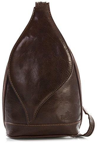 Womens Shoulder Bag LIATALIA Small Backpack Dark Tan Duffle Real Italian KIM Rucksack Leather BwTwqdS