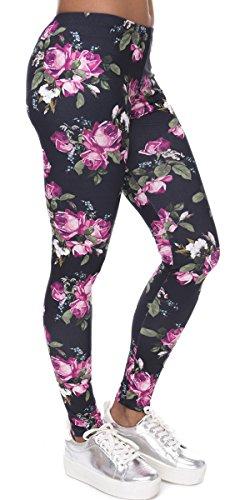 Ndoobiy Women's Printed Leggings Full-Length Plus Size Yoga Workout Leggings Pants Soft Capri L1(Pink Roses PS) by Ndoobiy