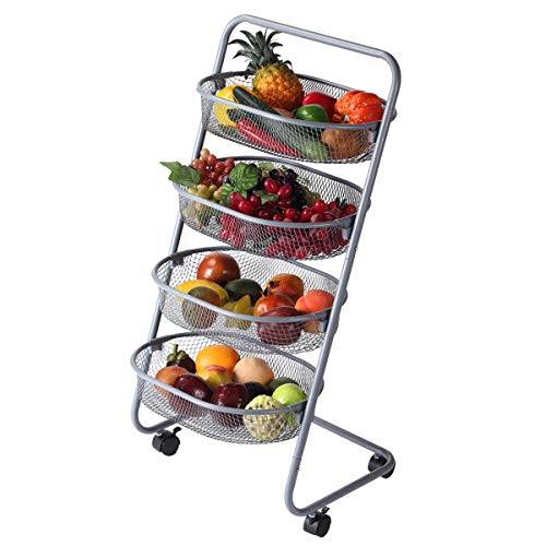 Buruis 4 Tier Utility Cart, Mesh Wire Rolling Cart Multifunction Storage Cart with Wheels for Cupboards, Pantries, Shelves, Bedroom, Steel Wire Basket Shelving Trolley, Easy Assembly - Carts Wire Mesh