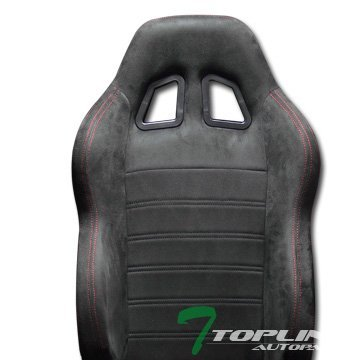 Topline Autopart 1X Sp Sport Style Black Suede Red Stitch Reclinable Racing Bucket Seat Slider T01 (Pontiac G6 Heated Seats compare prices)