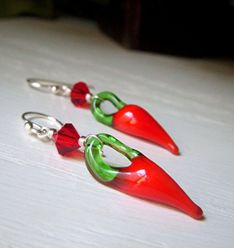 Red Chili Pepper Earrings - Handmade Lampwork Glass