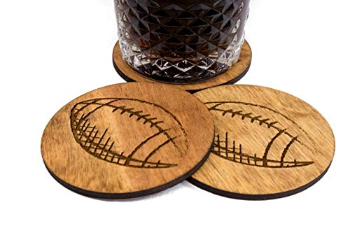 Stained Hand Sketched Football Coaster Set - 3.5