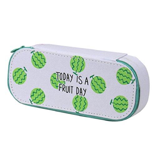 Office Stationery,Ikevan Cute Fruit Canvas Pencil Case Pen Bag Pencil Box Stationary Pouch Makeup Bag (Green) - Open Multi Plier Trim
