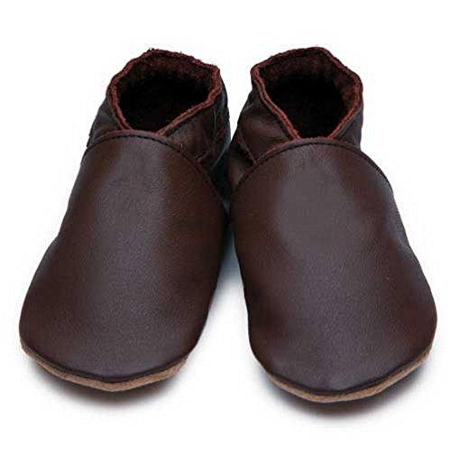 Inch Blue Mädchen/Jungen Schuhe für den Kinderwagen aus luxuriösem Leder - Weiche Sohle - Einfarbig Schokobraun