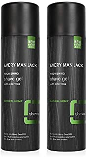 product image for Every Man Jack Shave Gel - Natural Hemp | 7-ounce Twin Pack - 2 Cans Included | Naturally Derived, Parabens-free, Pthalate-free, Dye-free, and Certified Cruelty Free