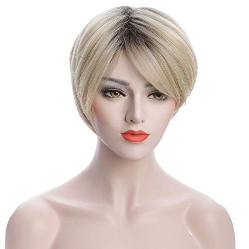 Karlery Women Short Bob Fluffy Blonde Dark Root Dyed Straight Wig Costume Halloween Wig Cosplay Party Wig