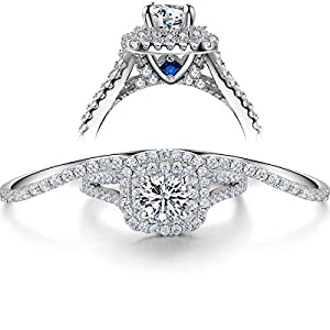 Wuziwen 3pcs 3.5Ct Engagement Wedding Ring Set for Women Sterling Silver AAA Cz Created Blue Sapphire Size 6