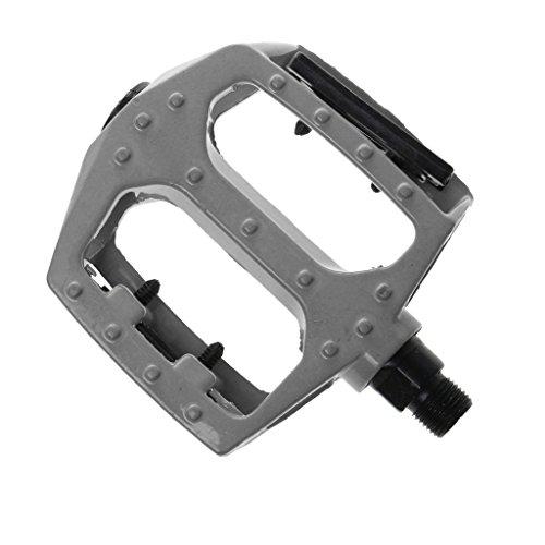 MagiDeal 1 Par Universal Pedales De Bici Anchas Aleación De Aluminio De Plataforma Camino MTB - Negro, 3,5 x 3,35 x 1 pulgadas / 9 x 8,5 x 2,5 cm Plata