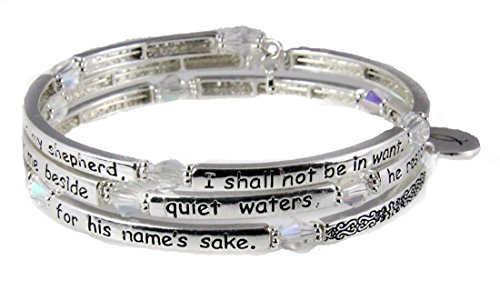 4030722 Psalm 23 Coil Bracelet Scripture The Lord is my Shepherd Religious Cross Bible Scripture ()