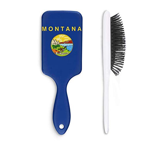 HairBest Flag_of_Montana Funny Paddle Hairbrush Plastic Detangling Brushes Great On Wet Or Dry Hair For Women Men Kids Stimulate Scalp Help Growth Add Hair Shine