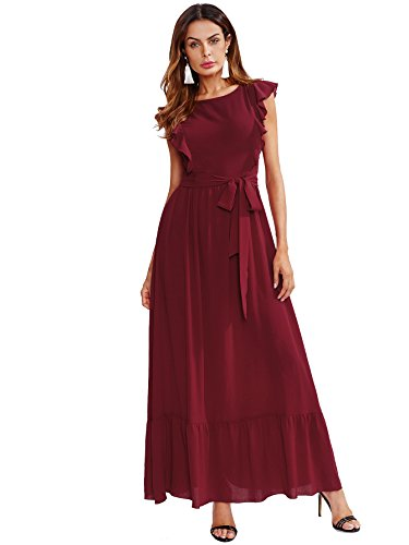 Milumia Women's Elegant Belted Frill Shoulder and Hem Self Knot Butterfly Sleeve Maxi Dress Medium Burgundy - Frill Sleeve Dress