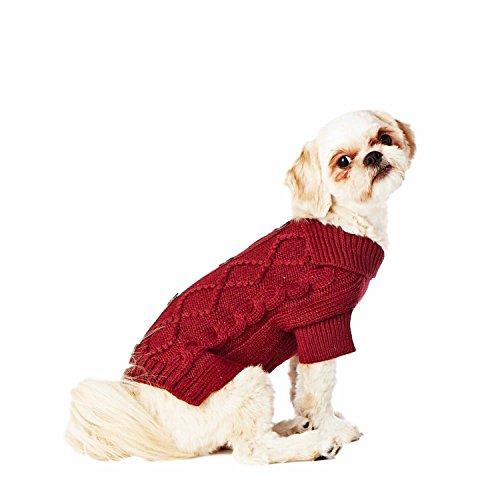 Hotel Doggy Cable Cardigan Sweater, Zinfandel, Medium