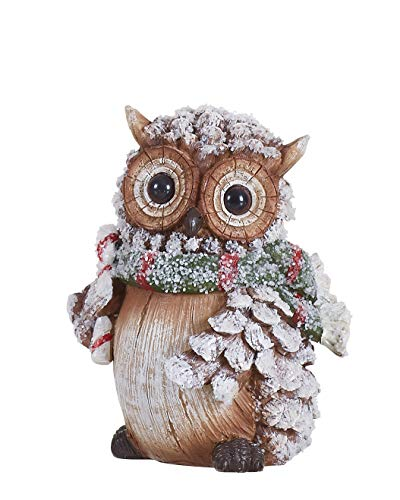(Transpac Imports D0638 Resin Pine Cone Owl Figurine, Gray)