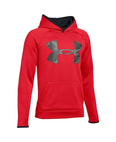 Under Armour Boys' Storm Armour Fleece Highlight Big Logo Hoodie, Red (601), Youth Medium