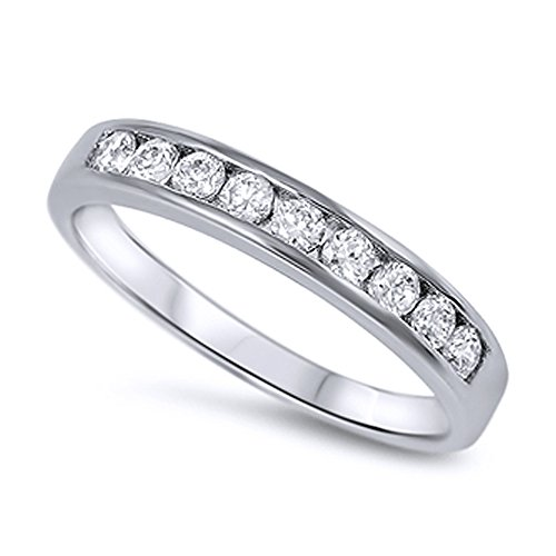 d CZ Channel Set Half Eternity Ring Band Anniversary Ring 4MM ( Size 3 to 12 ), 6 ()