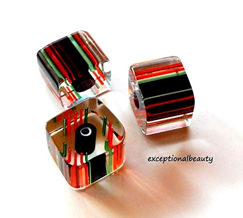 20 Blown Cane Furnace Glass Square Slice Striped Beads 8x10mm Black Red Green