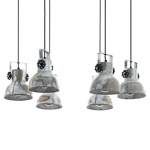 EGLO Hanglamp Barnstaple, 6 vlammige vintage hanglamp in industrieel design, retro hanglamp van staal in zink used-look…