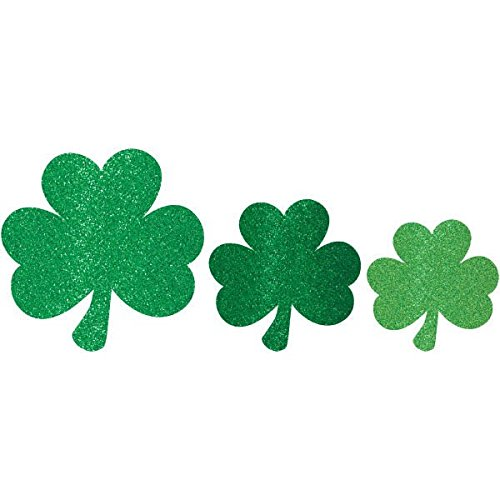 Amscan 197523 St Patrick's Day Mini Glittered Shamrock Assorted Cutouts Multisizes -