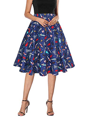 Yanmei Women's 50s Flare Midi Skirt Cotton Circle Skirt for Work Dark Blue X-Large 1086-13