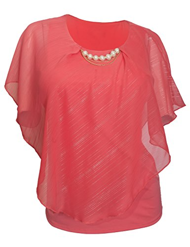 eVogues Plus Size Layered Poncho Top with Pearl Pendant Coral Glitter Stripe 18223 - 1X Pearl Coral Pendant