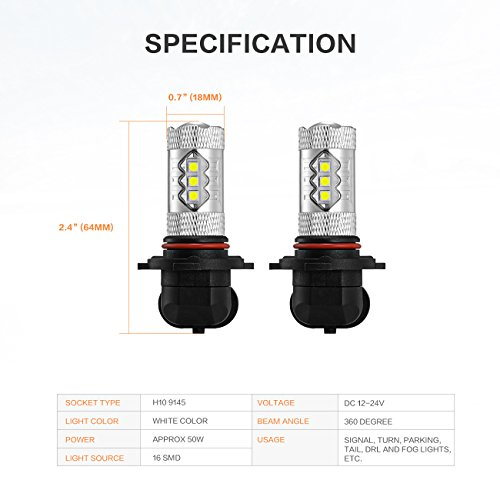 Auxbeam H10 9145 16 SMD 50W Led Light Bulb Use For Signal Turn Tail  Fog Lights