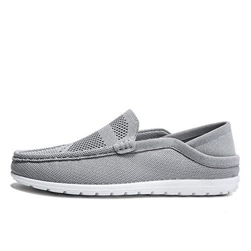 Esthesis Hommes Casual Slip sur Toile Chaussures D'été Classique Mocassins Flats Appartements Gris ZYhOgzAT