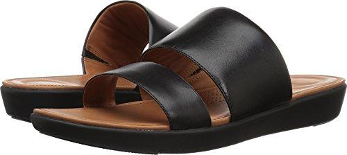 FitFlop Women's Delta Slide Flat Sandal, Black, 8 M US - Delta Leather