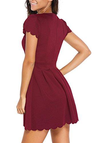 La Bourgogne Robe Patineuse Plissée Pétoncle Douce Des Femmes Roswear