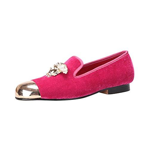 OCHENTA Zapatos planos hechos a mano vestido de terciopelo de los hombres Asiático 42/ EU 40,5|Rosa