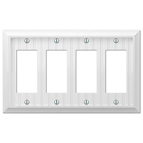 Cottage White Wood Quad-GFI Switch Plate