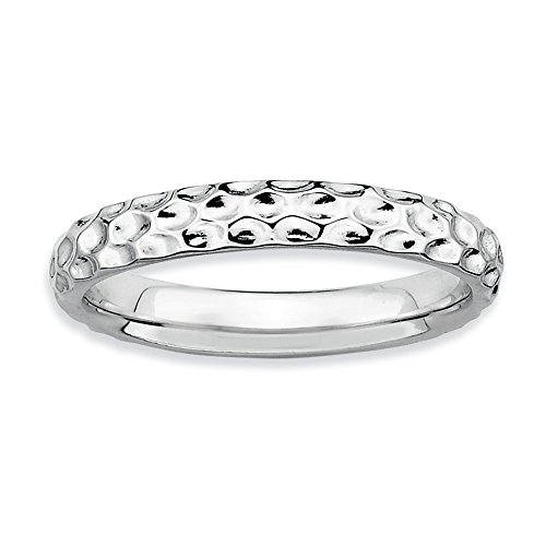 3.25 Mm Hammered Band - 3.25mm Stackable Sterling Silver Hammered Band Size 8