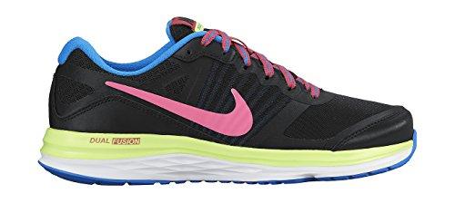 Nike Dual Fusion X (Gs), Zapatillas de Running Para Niñas Negro / Rosa / Verde / Azul (Black / Pink Pow-Volt-Photo Blue)