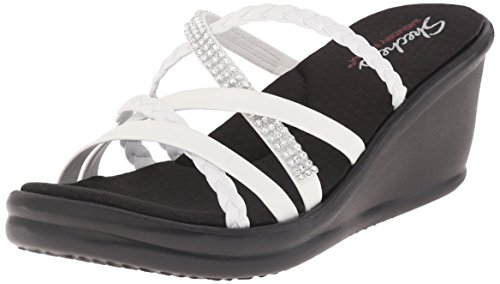 Skechers Cali Women's Rumblers-Social Butterfly Wedge Sandal,White Rhinestone,9 M US (Cache Dresses For Women)