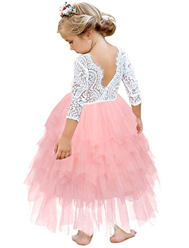 (HenzWorld Girl Peony Lace Hollow Back A-Line Tutu Tulle Party Flower Girl Dresses Wedding Outfits 5-6 Years)