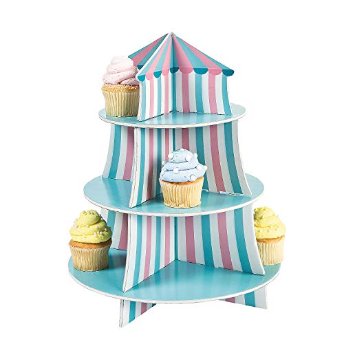 Fun Express - 1st Circus Cupcake Holder for Birthday - Party Supplies - Serveware & Barware - Misc Serveware & Barware - Birthday - 1 Piece
