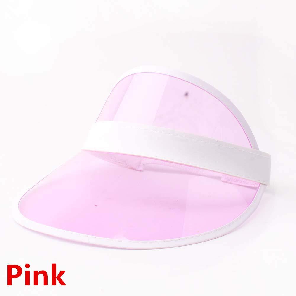 HeroStore 10 PCS Summer Unisex Women Men Sun Hat Candy Transparent Empty Top Plastic PVC Sunshade Hat Visor Caps Bicycle Sun hat Whole
