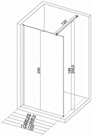 Mampara de ducha recta Concerto Walk 138 140 cm, altura 2 m, Vidrio templado de 6 mm, Tratado antical, perfil ...